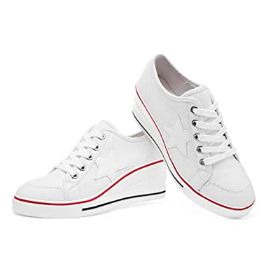 Robert Westbrook Wedges High Heels Ladies Casual Canvas Shoes Women lace up platform shoes female white 35-43