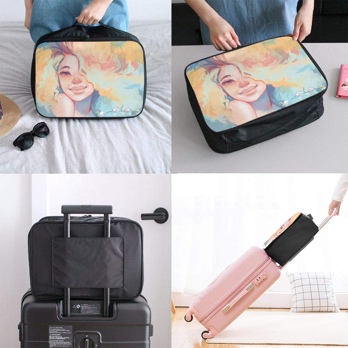 Lady American Black Women With Yellow Hair Travel Luggage Storage Bag Duffel Bag Handle Makeup Bag Fashion Lightweight Large Capacity Portable Luggage Bag