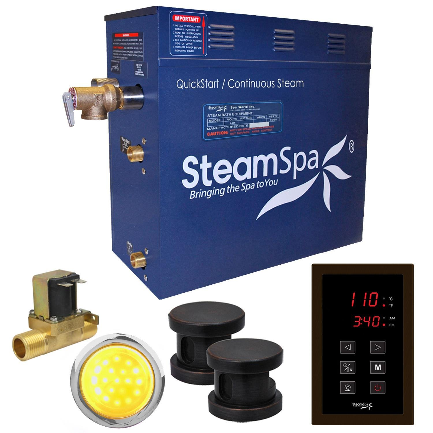Steam Spa INT600OB-A Indulgence 6 KW Quick Start Acu-Steam Bath Generator Package with Built-In Auto Drain, Oil Rubbed Bronze Spa World - Dropship