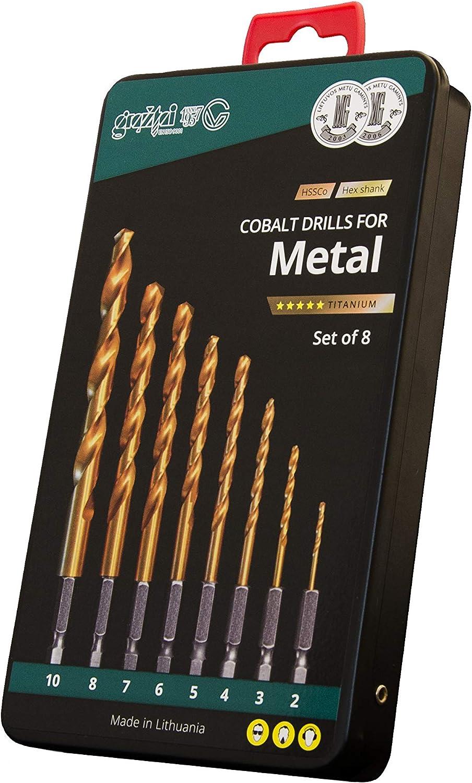 Juego Brocas Cobalt Ø 2.0-10.0 Mango HEX, HSSCo (M35), Revestidas Al TiN, Rapido Cambio Herramienta