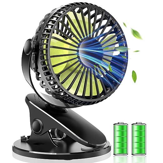 【タイムセール】USB扇風機 卓上 扇風機 クリップ式 小型 軽量 静音 USB 充電式 360°角度調整 大風量 無段階調整 4枚羽根 コンパクト (ブラック)