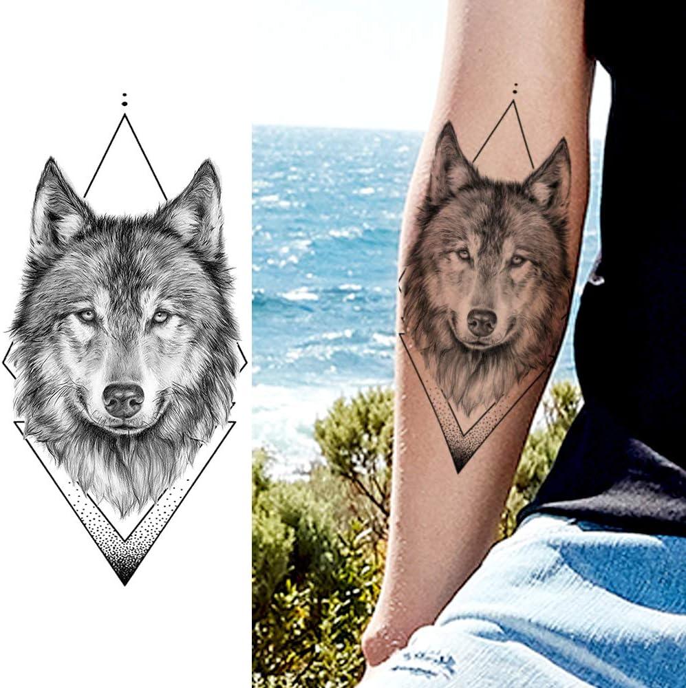LAROI 10 Hojas Grande Geométrico Realista Lobo Tatuaje Temporales ...
