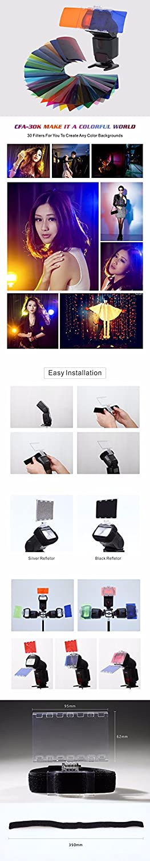 Falcon Eyes CFA-30K Kit Flash Speedlite 30 Colors Color Gel with Barndoor /& Reflector /& Bag for Canon Nikon YONGNUO GODOX Flash