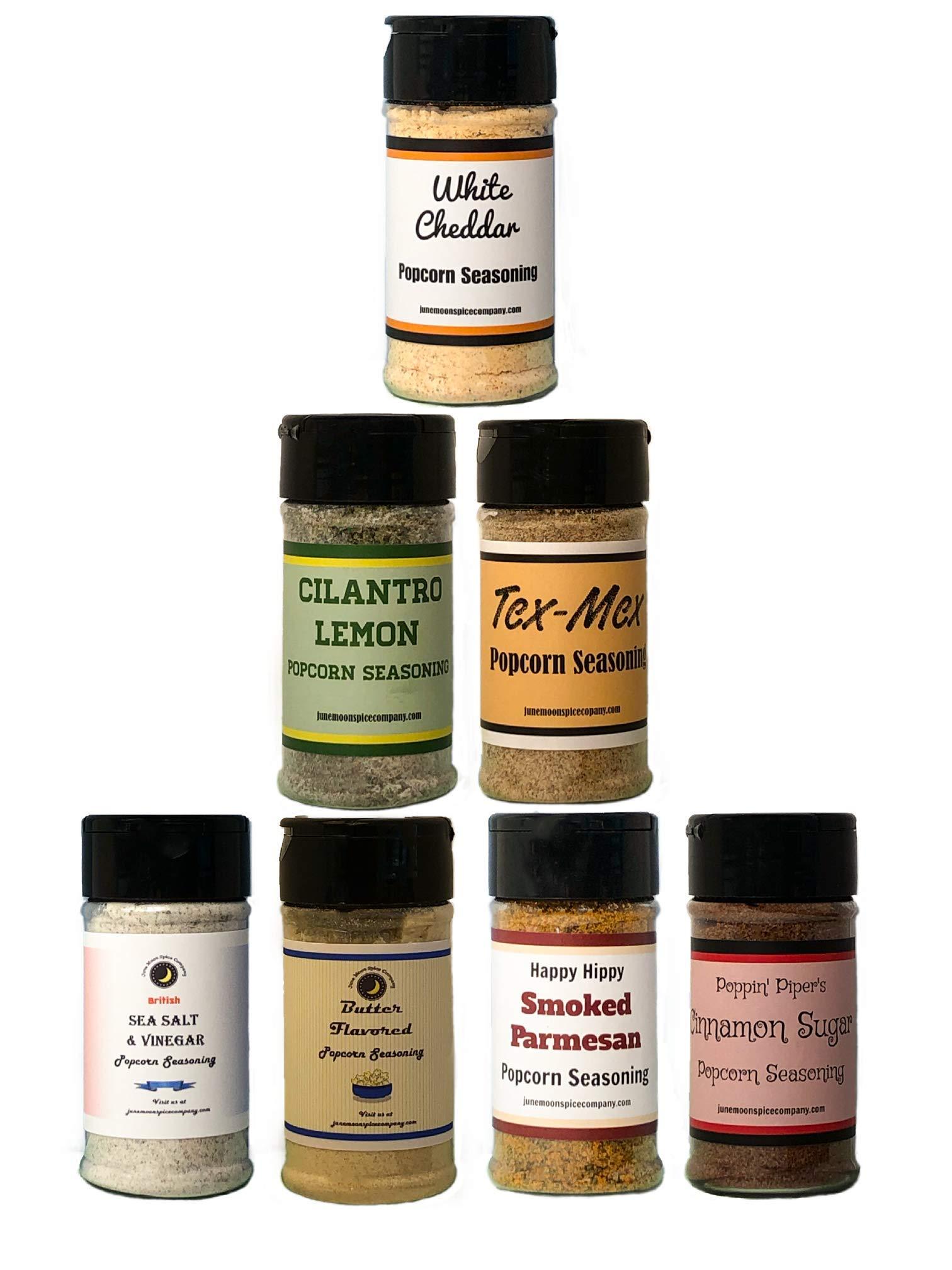 PREMIUM | Popcorn Seasoning | Variety 7 Pack | Sea Salt & Vinegar | Butter | Smoked Parmesan | Cinnamon Sugar | Cilantro Lemon | Tex Mex | White Cheddar | 3.5 fl. oz.