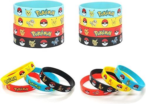 Funmo - 16 Piezas Pokemon Pulsera de Silicona, Fiesta para niños y Adultos: Amazon.es: Juguetes y juegos