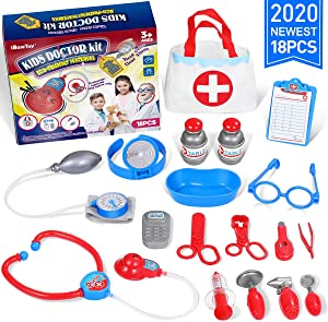 iBaseToy Doctor Kit for Kids - 18 Pcs Pretend Play Medical Dr. Set with Storage Bag & Electronic Stethoscope, Kids Doctor Playset for Toddlers Boys Girls