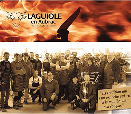 LAGUIOLE en Aubrac - Cuchillo jamonero (43 cm, Madera de Olivo, para Pata Negra, Serrano, salmón, asado, etc.)