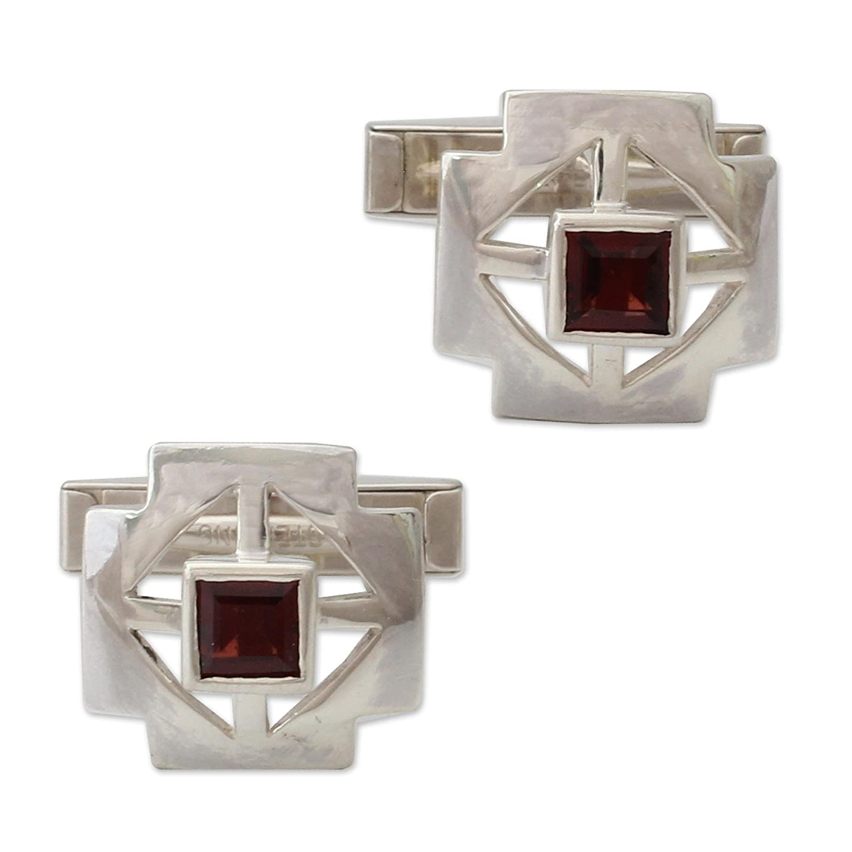 Cross NOVICA Garnet .925 Sterling Silver Mens Cufflink