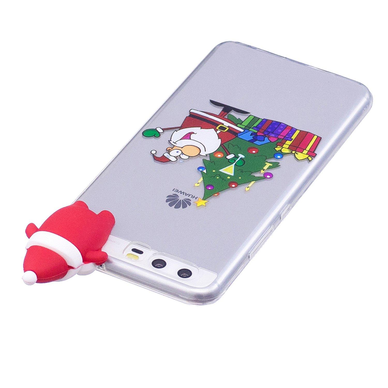 Huawei P10 H/ülle Silikon,Huawei P10 H/ülle,WIWJ Handyh/ülle Transparent Weiche TPU Case Cover Schutzh/ülle f/ür Huawei P10-Weihnachtsschneeflocke Weihnachten Thema Muster