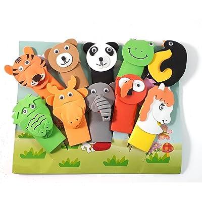 10pcs en peluche douce Zoo Animal marionnettes de bébé étage temps Style animal pour les tout-petits, famille de marionnettes pour les enfants, Bébés, les tout-petits et toute la famil