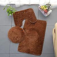ESUPPORT Solid Color Bathroom Rug 3 Pcs Soft Absorbent Non Slip Bath Mat Carpets & Toilet Lid Cover Set Washable, Brown