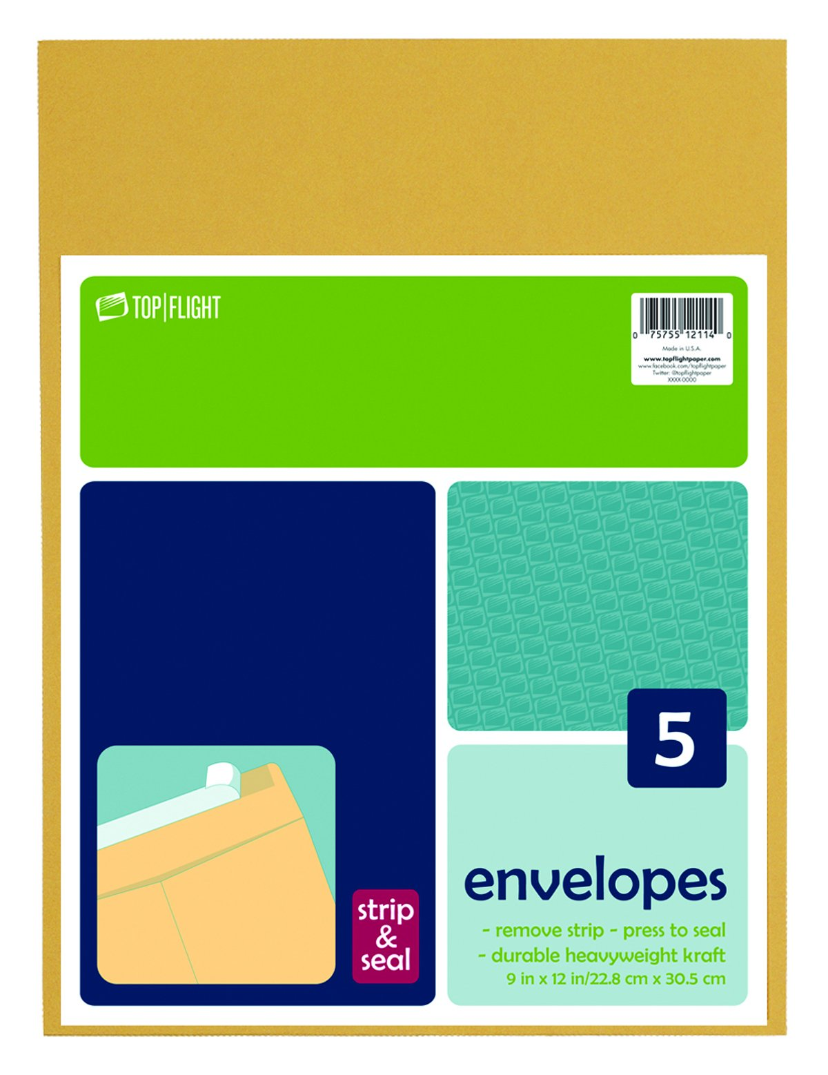 Top Flight Strip and Seal Open-End Envelopes, 9 x 12 Inches, Brown Kraft, 5 Envelopes per Pack (6912114)