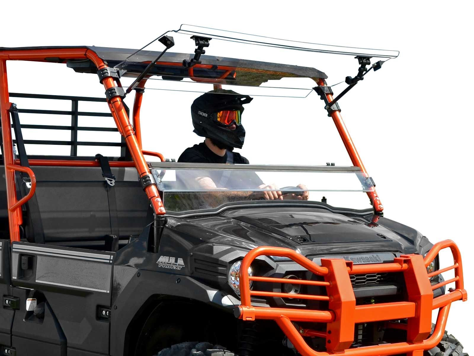 SuperATV Heavy Duty Scratch Resistant 3-in-1 Flip Windshield for Kawasaki Mule Pro FXT / FX / DXT / DX (2015+) - Can be Set to Vented, Closed, or Open - Easy to Install! by SuperATV.com