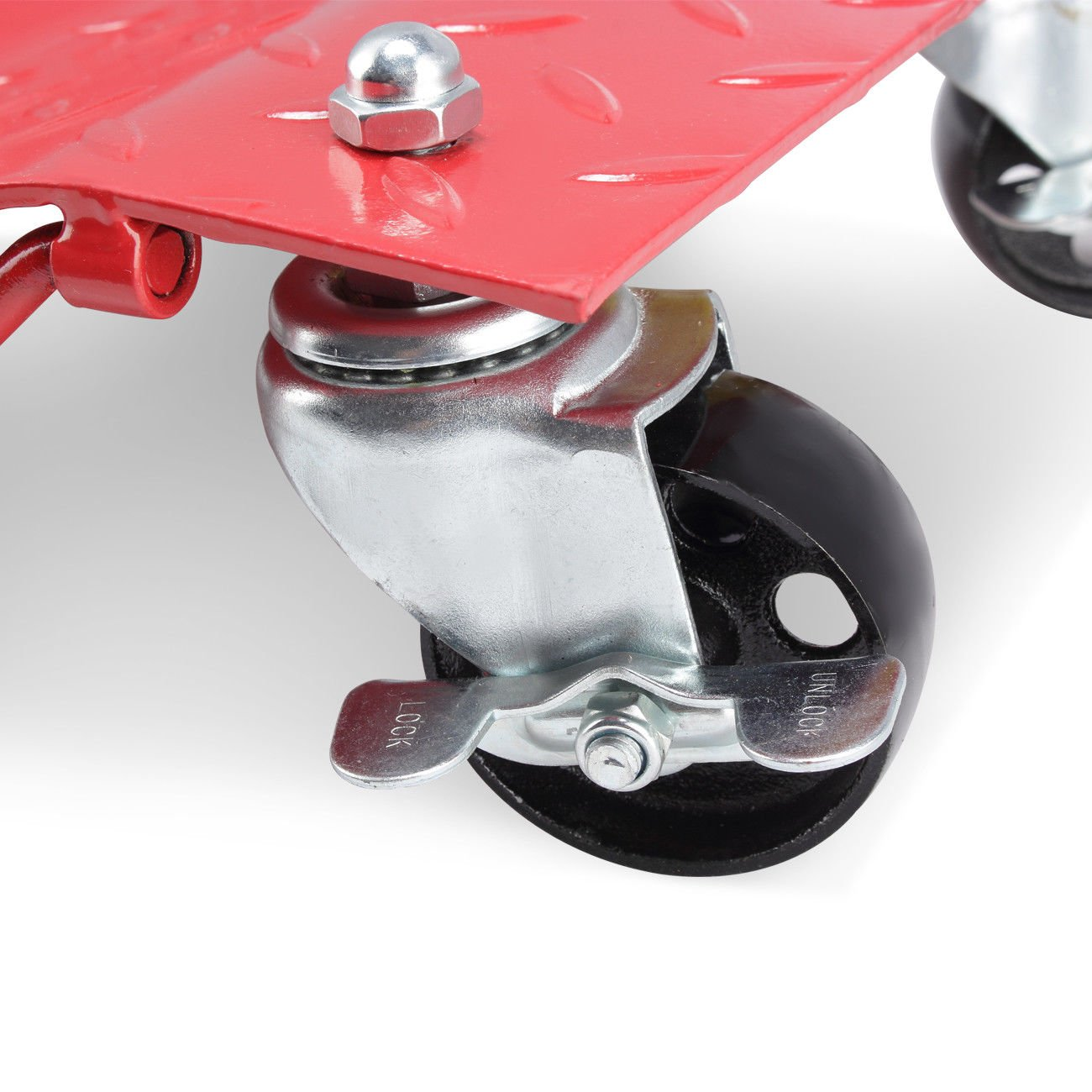 GHP 2-Pcs Red 1500-Lbs Capacity Steel Car Wheel Dollies with 3'' Casters & Lock by Globe House Products (Image #4)