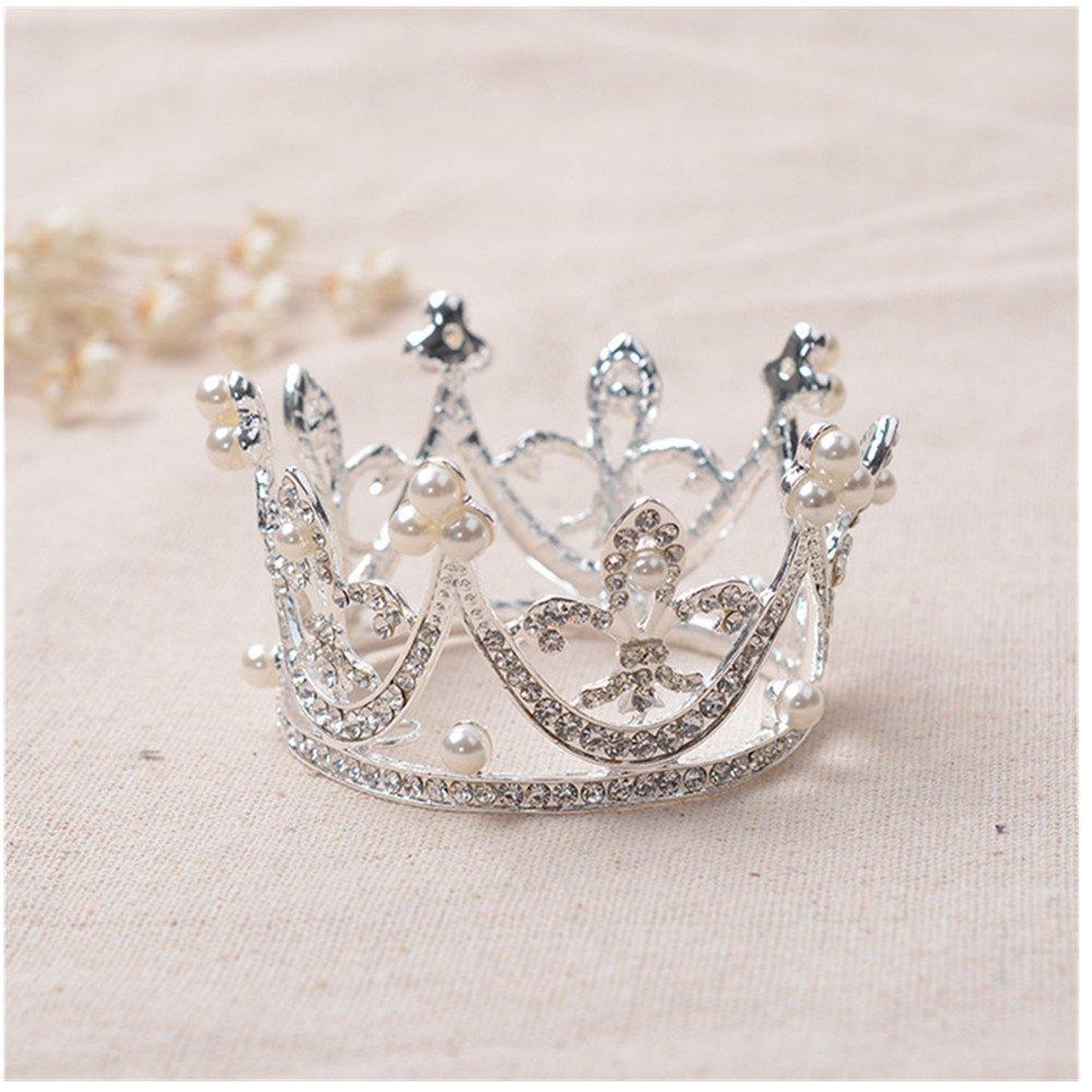 Toshow Children Girls Korean Round Rhinestone Crown Baby Princess Mini Pearls Hair Crowns Tiaras Headband (Type A)