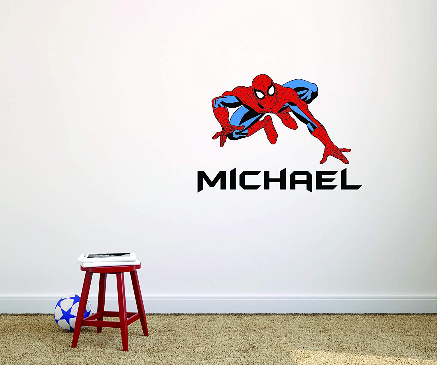 Spider Man Design Boys Personalized Name Custom Name Wall Decals for Bedrooms//Spiderman Kids Childrens Cartoon Cartoons Design Decoration for Wall Walls Fun Colorful Art Stickers Size 13x16 inches