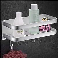 Wangel Doucheplank zonder boren, doucheplank met 5 haken, zelfklevend badkamerrek met gepatenteerde lijm…