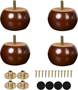 2 Inch Bun Furniture Feet Round Solid Wooden Ottoman/Couch/Sofa Legs with Metal Brackets Set of 4