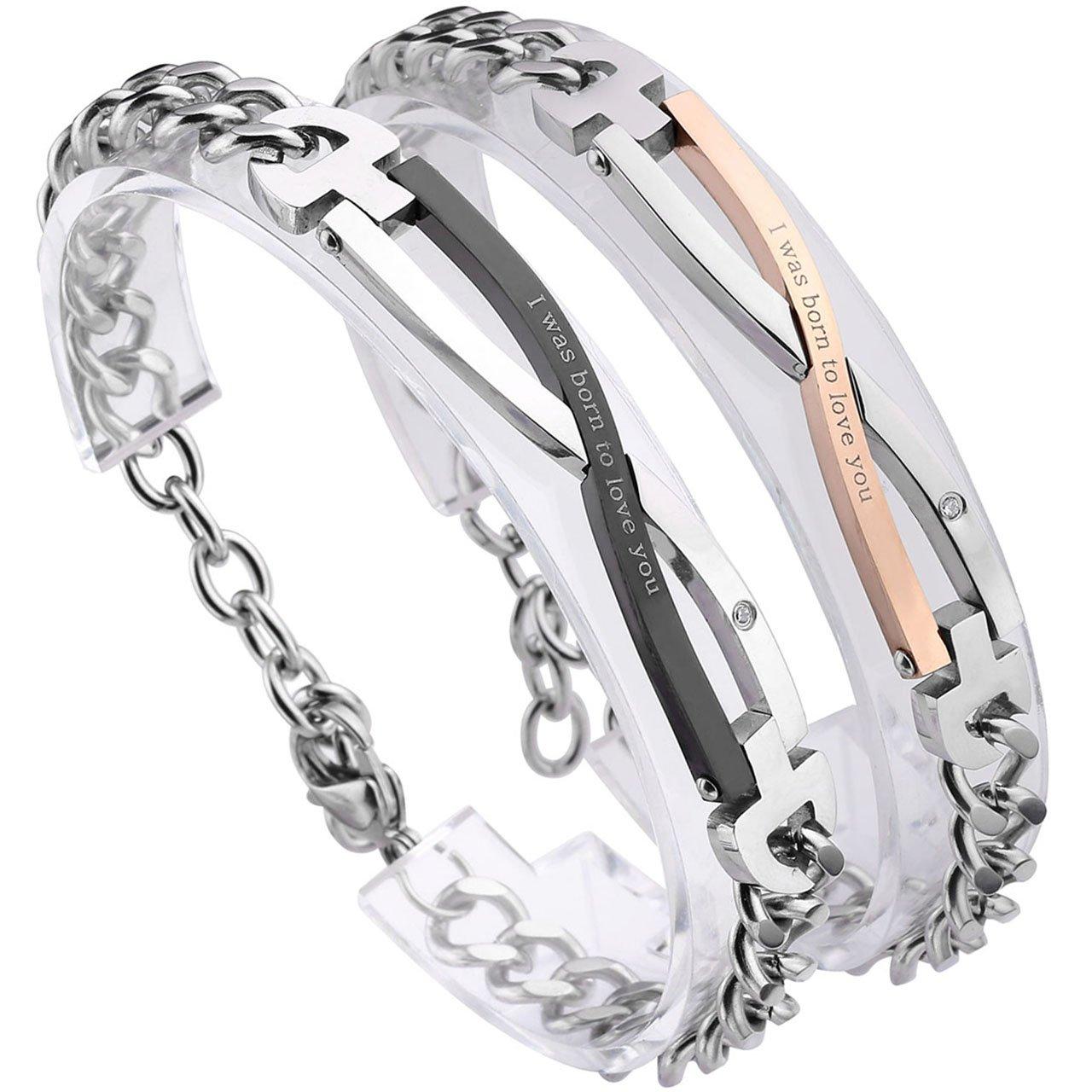 PiercingJ Stainless Steel CZ Love for Men Women Couple Bracelet Link Chain Wrist Bangles Gift Set for Lover AXUS099864