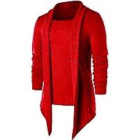 PAUSE Red Solid Lapel Collar Slim Fit Full Sleeve Men's Cardigan