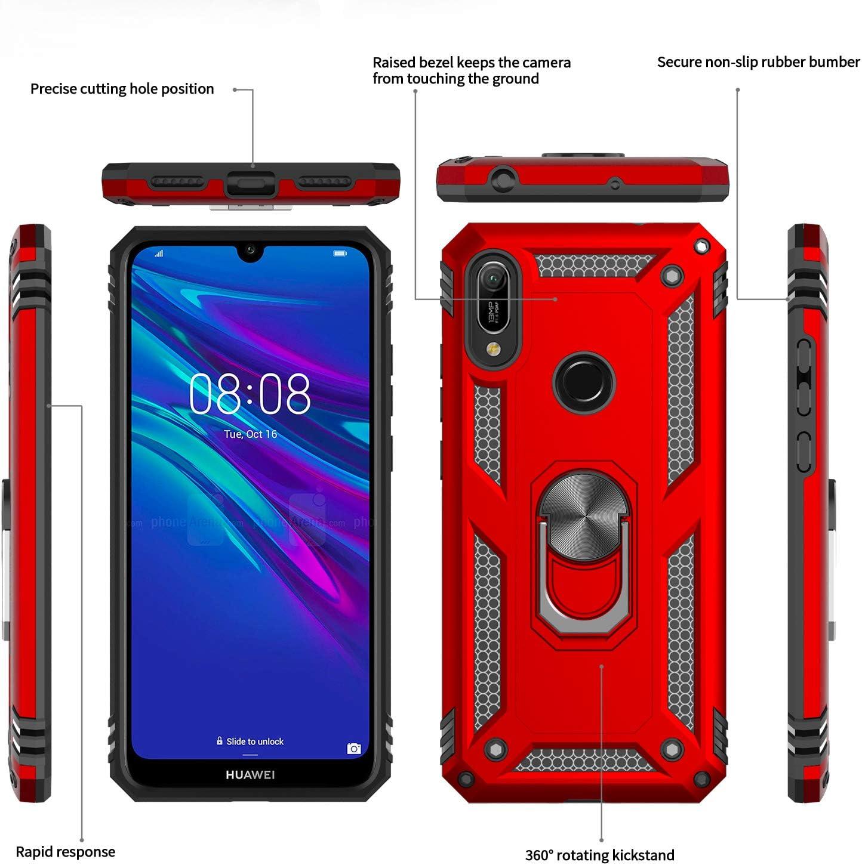 Y6 2019 con 2-Unidades LeYi Funda Huawei Honor 8A Cristal Vidrio Templado,Armor Carcasa con 360 Grados Anillo iman Soporte Hard PC y Silicona TPU Bumper Antigolpes Case para Movil Y6 2019,Rojo