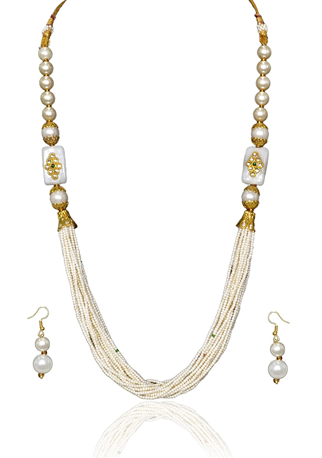Sansar India Multilayer Rajasthani Indian Jewelry Necklace Earrings Set for Girls and Women 963