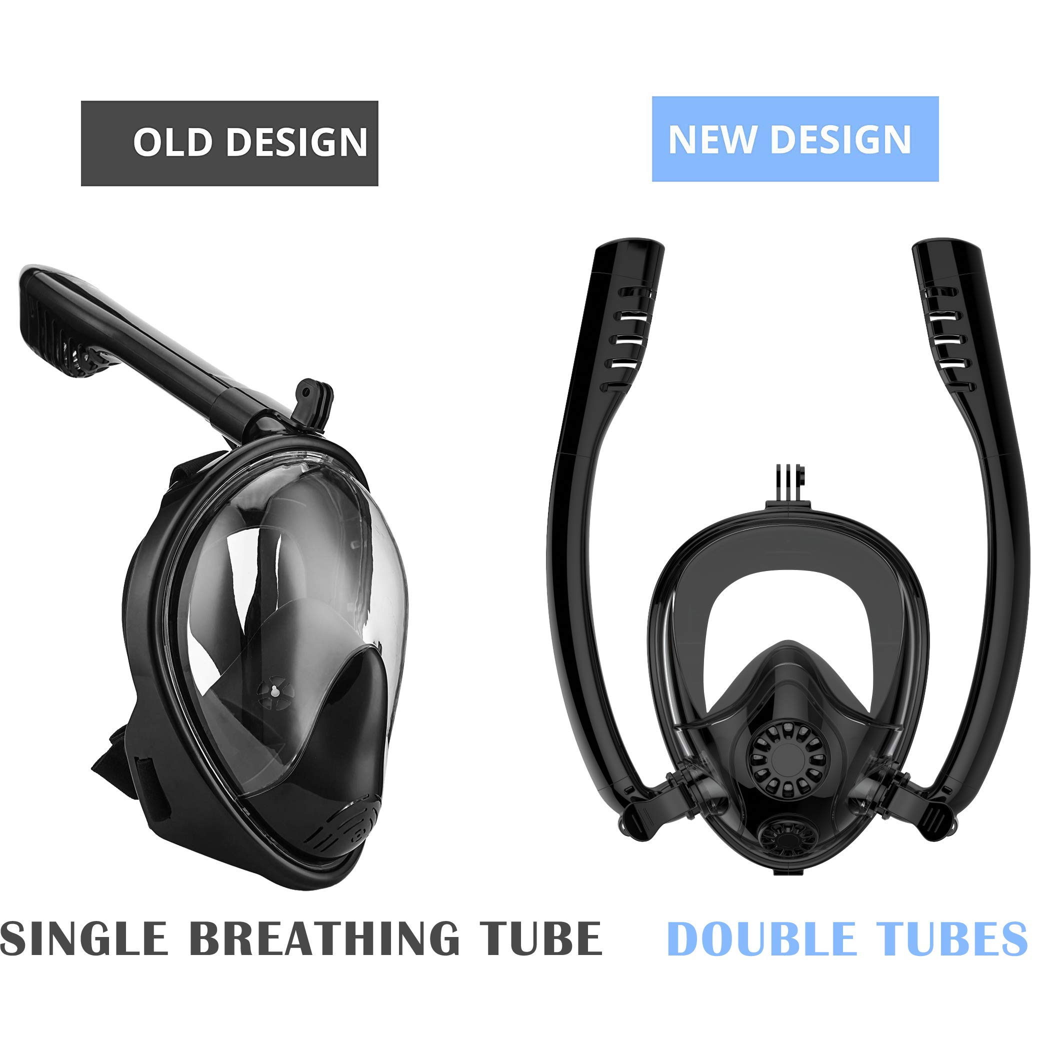 Full Face Snorkel Mask, HJKB K2 Backstroke Swiming Snorkeling Mask with Double Tubes and 180° Panoramic Viewing, Zero Fog and Anti Leak Guarantee with Camera Mount for Adult (Black, Large) by Jahuite (Image #3)