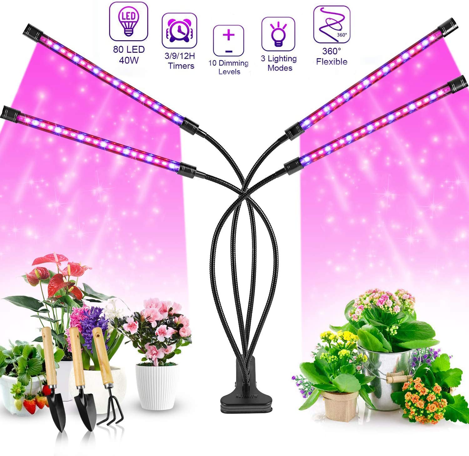 Upgraded Grow Light, 40W Four Heads Timing Plant Grow Lights for Indoor Plants, 80 LED 9 Dimmable Levels Lamp Bulbs with Red Blue Full Spectrum, Adjustable Gooseneck, 3 9 12H Timer, 3 Switch Modes