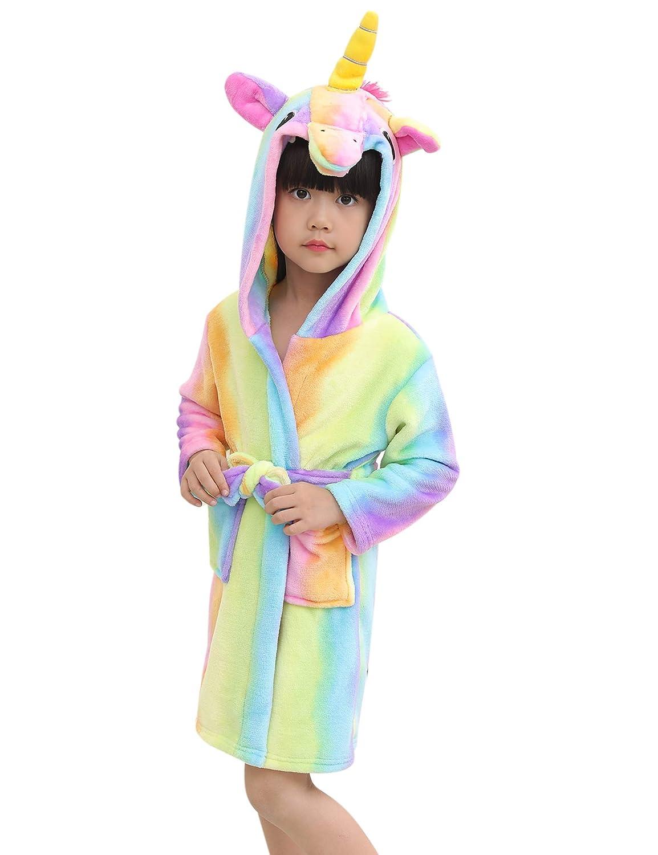 Aibrou Accappatoio Bambina Unicorno con Cappuccio, Vestaglie Ragazza Invernali Carina, Pigiama Ragazza in Pile Caldo, Camicia da Notte Bambini Invernale 1-6 Anni