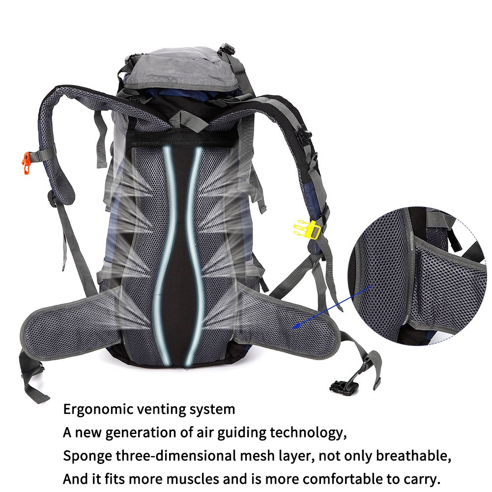 Suitable for men and women Skiing Trekking Climbing Mountaineering ONEPACK FBA/_1700515001 Camping backpack for outdoor travel Hiking Backpack 50l waterproof lightweight with rain cover 45l+5l camp backpacking pack