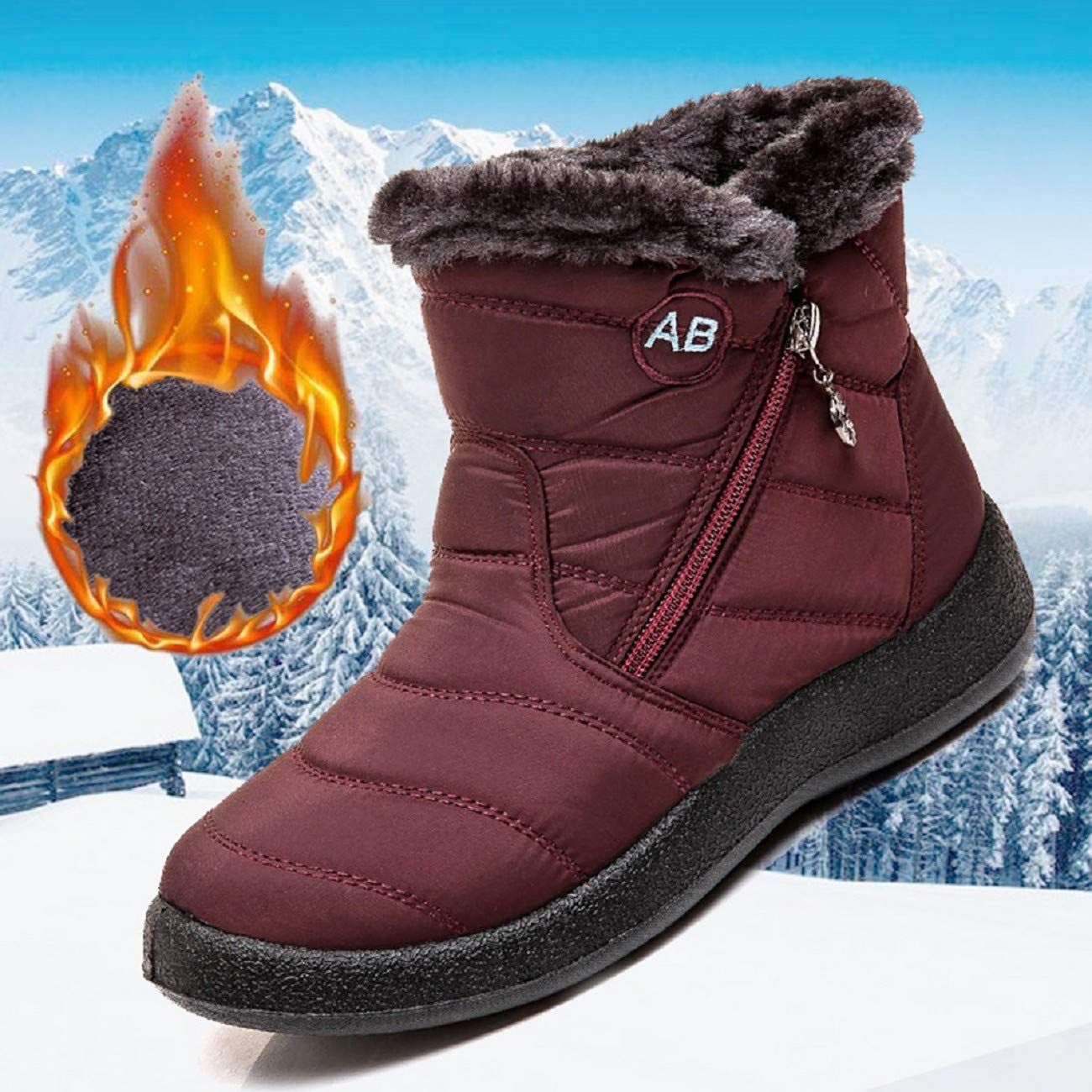 FAPIZI Womens Snow Boots Winter Fur Lining Warm Ankle Boots Outdoor Waterproof Slip on Lightweight Sneakers Shoes