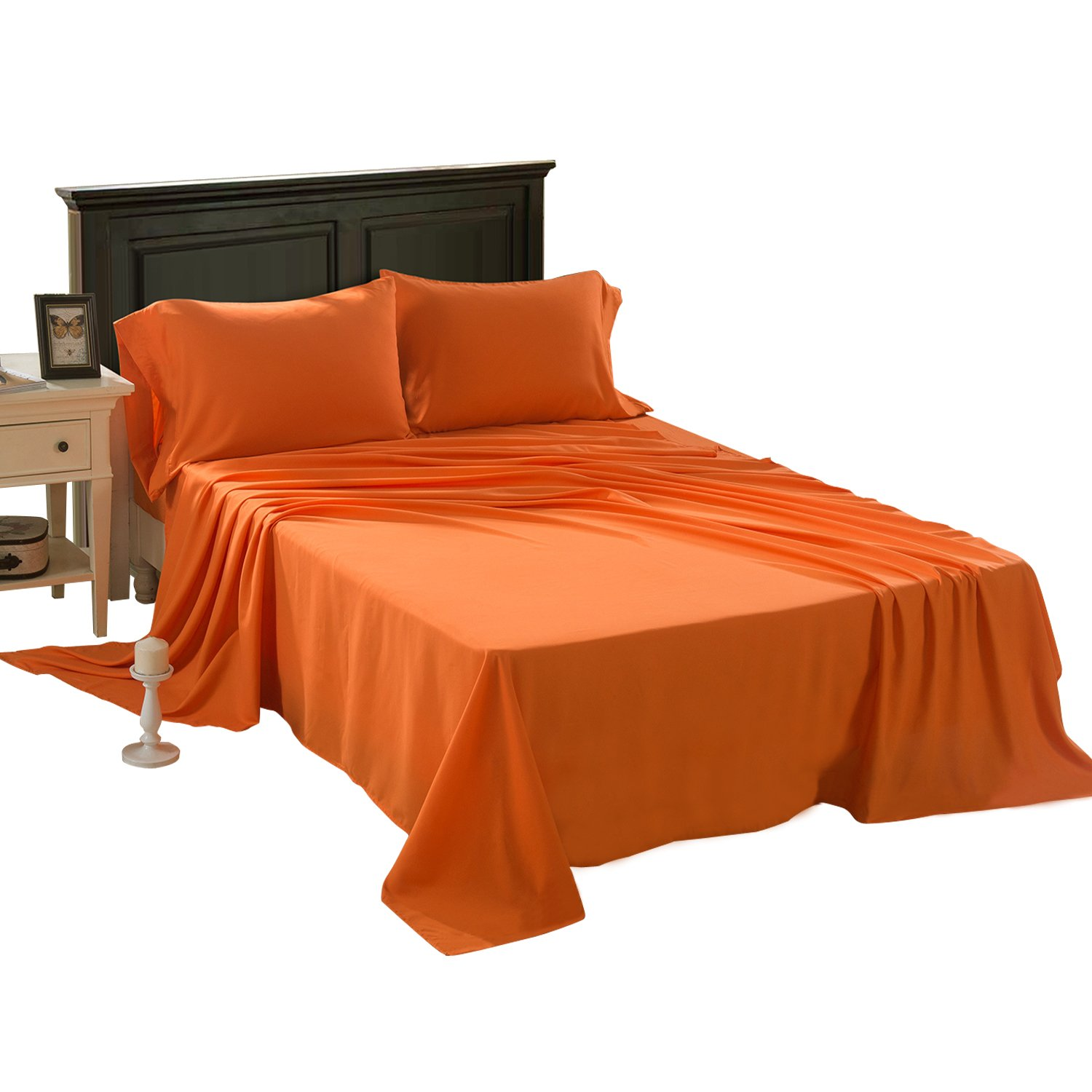 HollyHOME 1500 Soft Hypoallergenic Brushed Microfiber Bed Sheet Set, 4 Pieces Queen Size Sheets, Orange