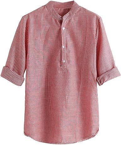 ZuzongYr Camisetas para Hombre a Rayas Camisa de Ocio Linen ...