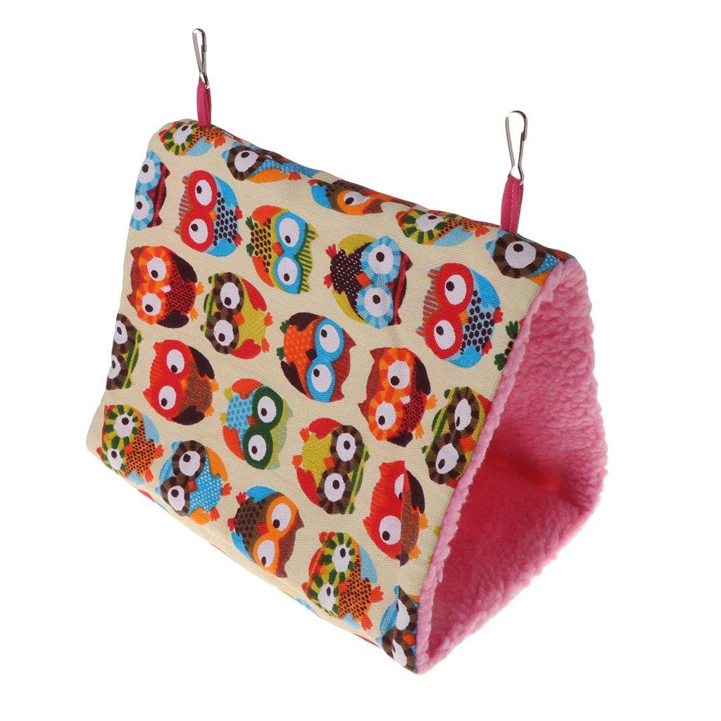 Poity Parrot Hammock Pet Birds Bed House Hanging Fuzzy Plush Winter Warm Soft Nest Toy Owl L
