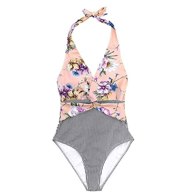 1d19042352 Pink Floral and Black Striped Halter One-Piece Swimsuit 2019 Women Sexy  Twist Monokini Beach
