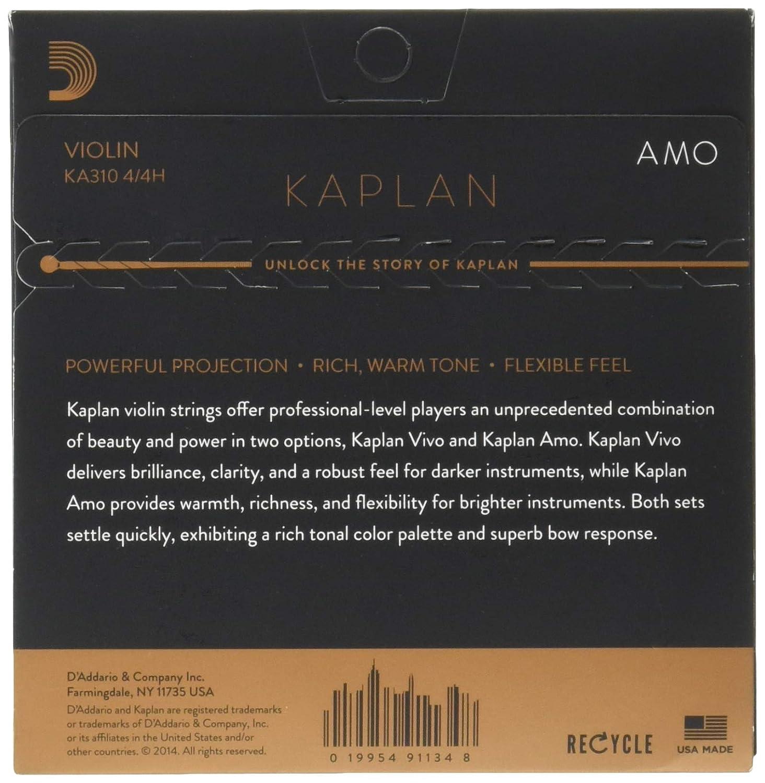 escala 4//4 DAddario Kaplan Amo KA311 4//4M Cuerda E para viol/ín tensi/ón media
