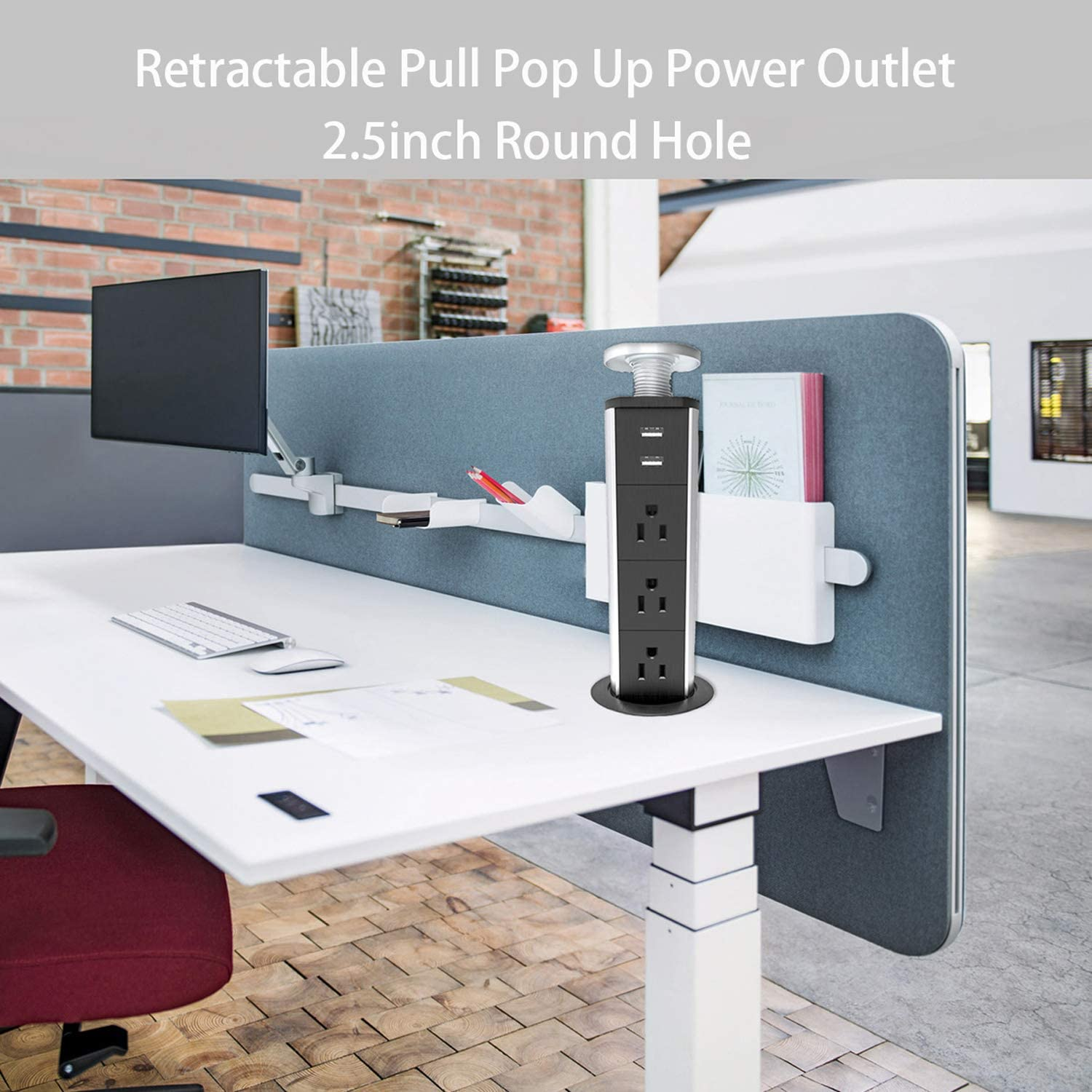Pull Pop Up Électrique 3 Plug Socket 2 USB Table de cuisine Prise escamotable Home