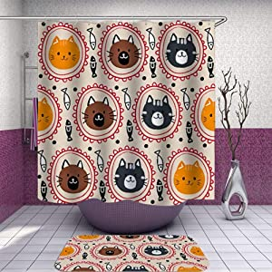 SARA NELL Shower Curtain and Rug Set Orange Red Black Brown Cat Round Diagram Black and White Fish Vector Shower Curtain Fabric Waterproof Fabric Bathroom Curtain Set with 12 Hooks - 72 x 72 Inch