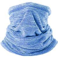 AYPOW Fleece Neck Warmer, Winter Warm Versatile Neck Warmer Extra Long Thick Neck Tube Windproof Balaclava Hood(Sky Blue Color) - Elastic Universal Size