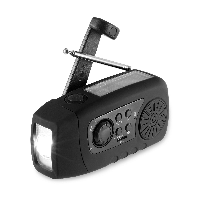 Solar Radio, Unionshopping Tragbare Solar Notfall-Hand-Kurbel Self Powered FM Radio mit [2000mAh] USB-Energien-Bank, LED-Taschenlampe, MP3-TF-Karte Unterstützung für Outdoor-Camping-Wandern (Schwarz) product image