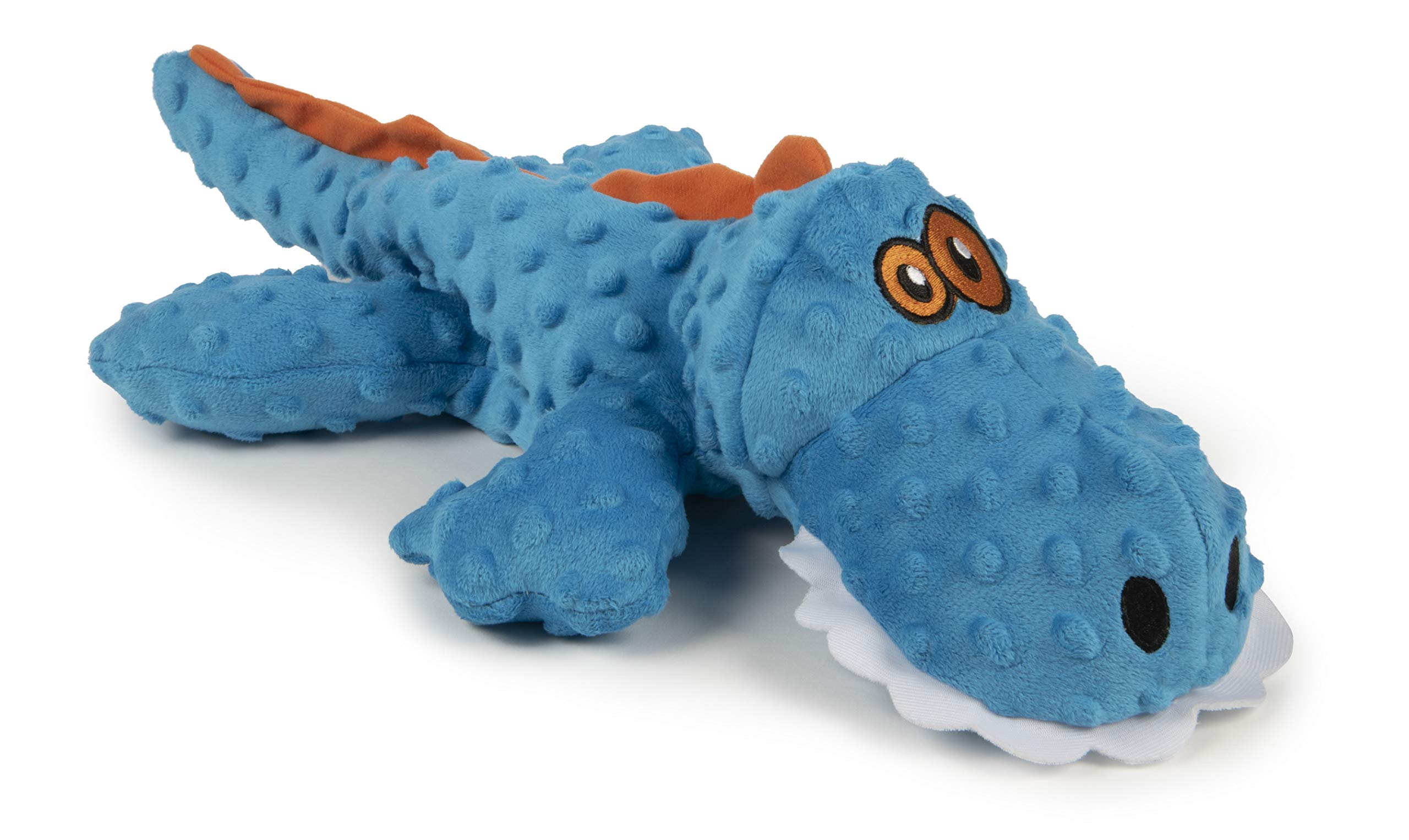goDog Gator with Chew Guard Technology Durable Durable Plush Squeaker Dog Toy, Extra Large, Blue