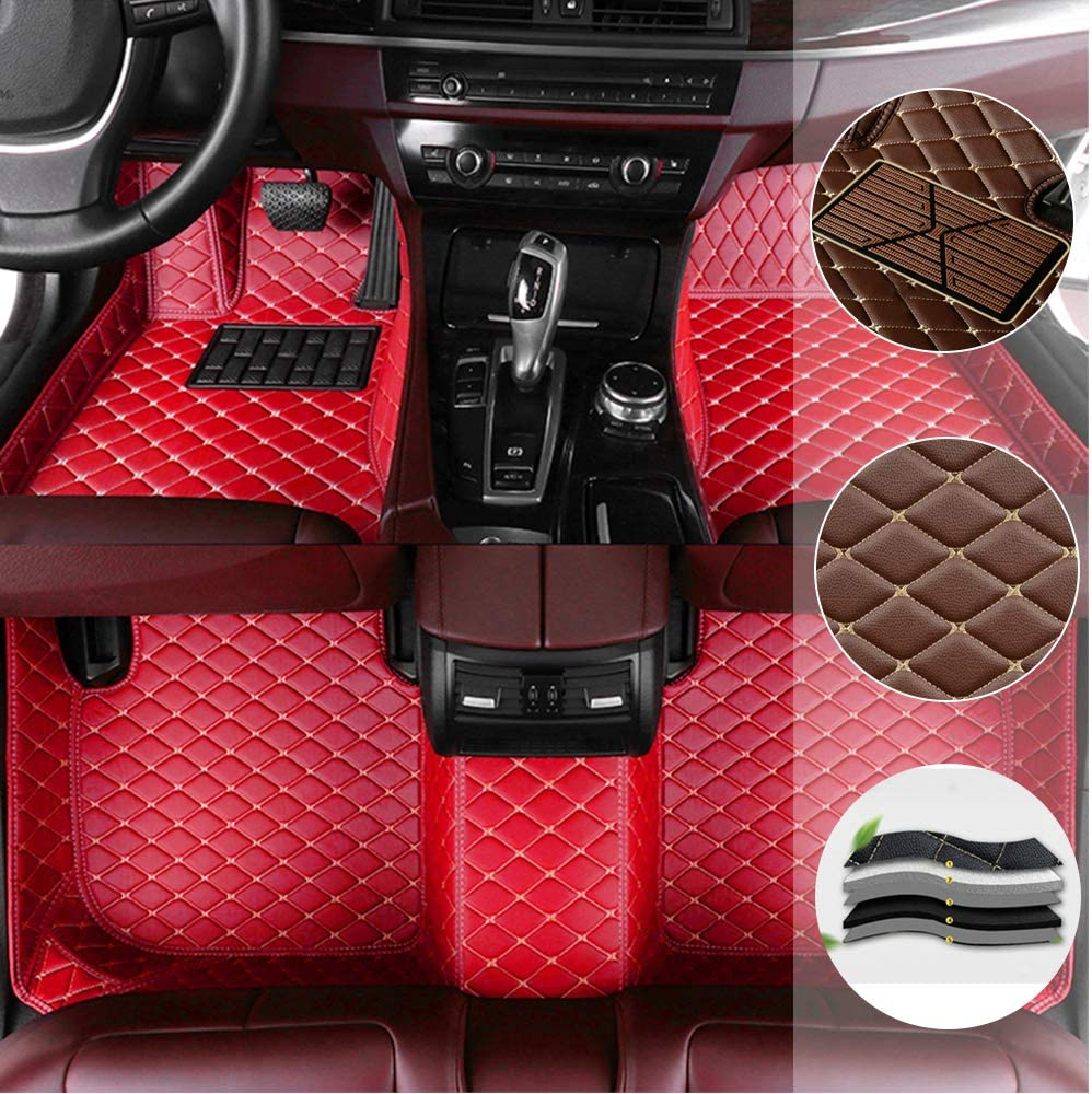 Car Floor Mats for Chevrolet Equinox 2010-2019 All Full Coverage Liner All Weather Waterpoof Non-Slip Leather Heavy Duty Custom Front Rear Mat Left Drive Black and Red