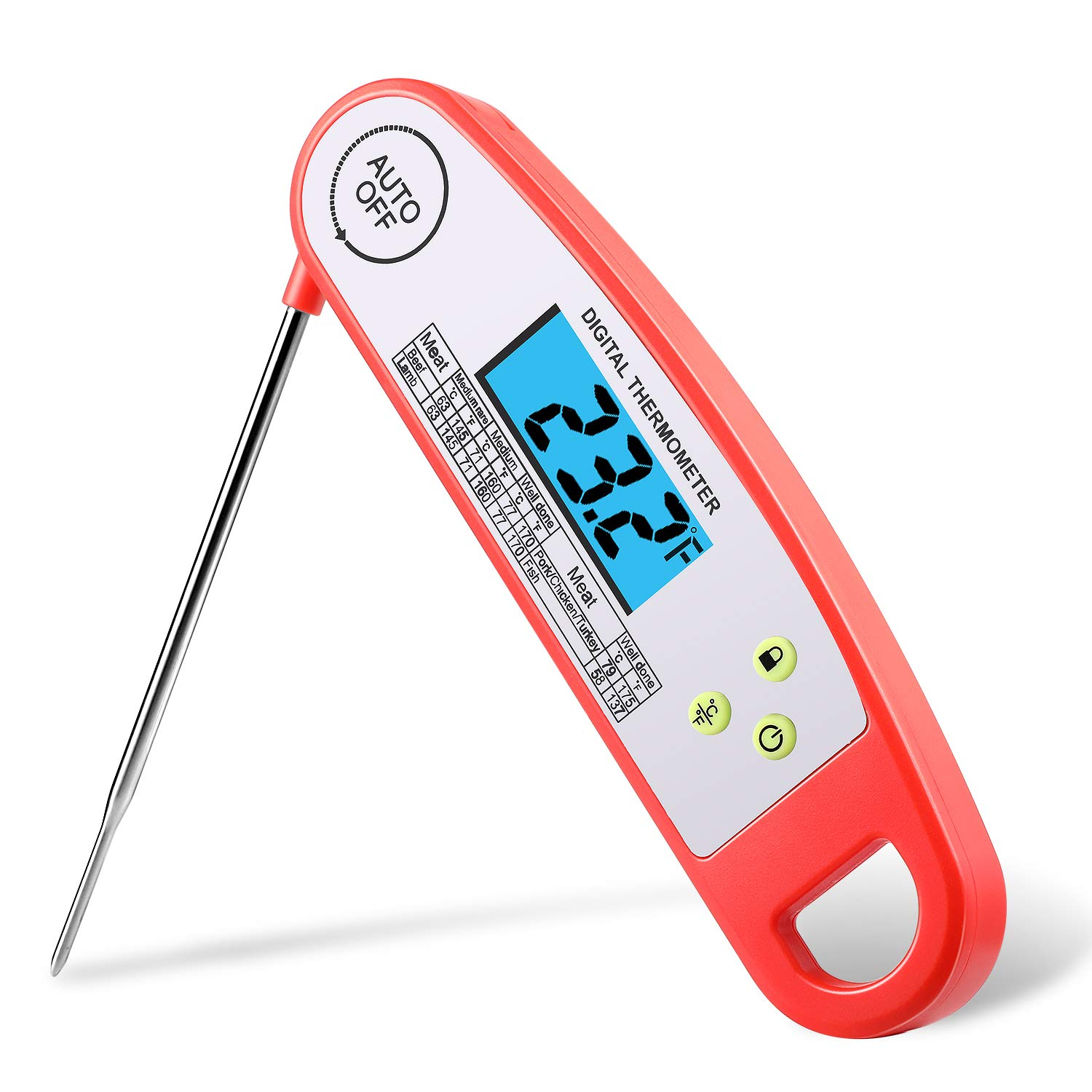 EDEALER Waterproof Digital Meat Thermometer-Kitchen Food Cooking Thermometer with Backlight LCD - Super Fast Electric Meat Thermometer Probe for BBQ Grilling Smoker Candy Baking Turkey DT-128