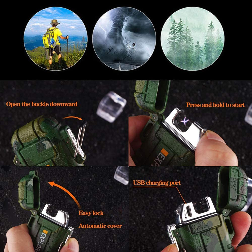 Rechargeable Arc Lighters Electronic Flameless USB Waterproof Windproof for Home Kitchen Outdoor Camping Cooking BBQ Fireworks Candle Lighter