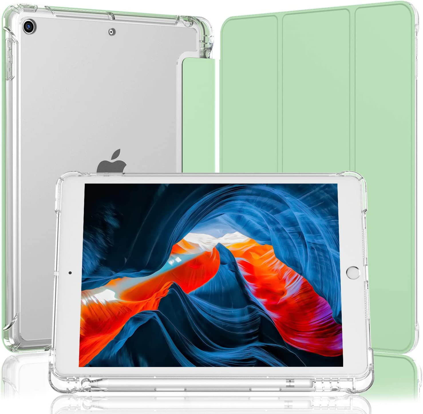 iMieet iPad 8th/7th Generation Case (2020/2019), iPad 10.2 Inch Case with Pencil Holder, Light Weight Soft TPU Translucent Frosted Back Smart Cover Case (Matcha Green)