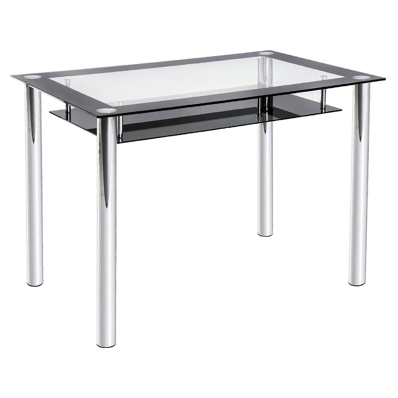 homcom Tavolo da Pranzo Cucina Soggiorno Design Moderno con Piano in Vetro Trasparente 110 × 70 × 75cm Nero Aosom Italy