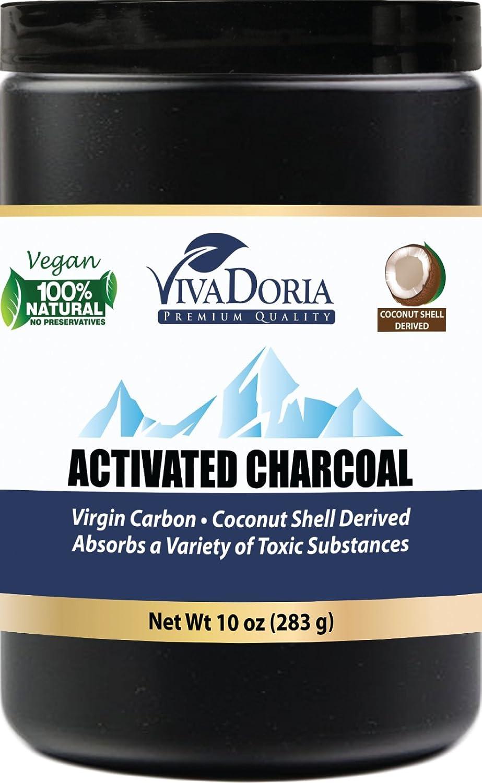 Viva Doria Virgin Activated Charcoal Powder, Coconut Shell Derived, Food Grade, 10 Oz