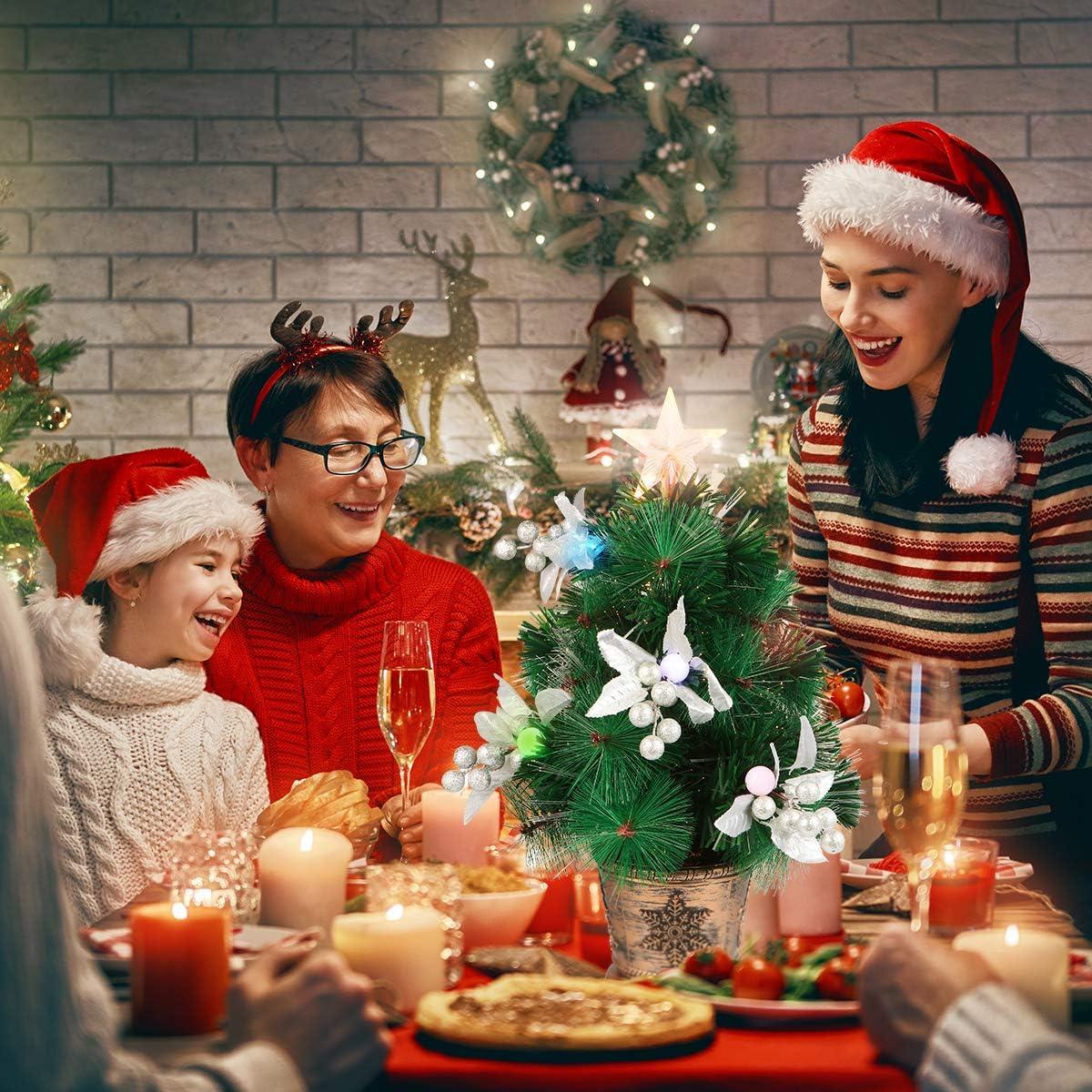 Tabletop Christmas Tree, Mini Artificial Christmas Tree with Lights Fiber Optic Tree for Christmas Decor