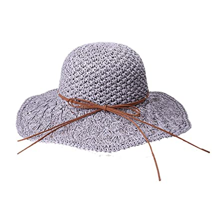 9fe234f8834a75 Amazon.com: Spring and Summer Women Handmade Sunshade Foldable Leather Cord  with Straw Hat Under 5 Dollars Hats for Women Baseball caps: Arts, ...