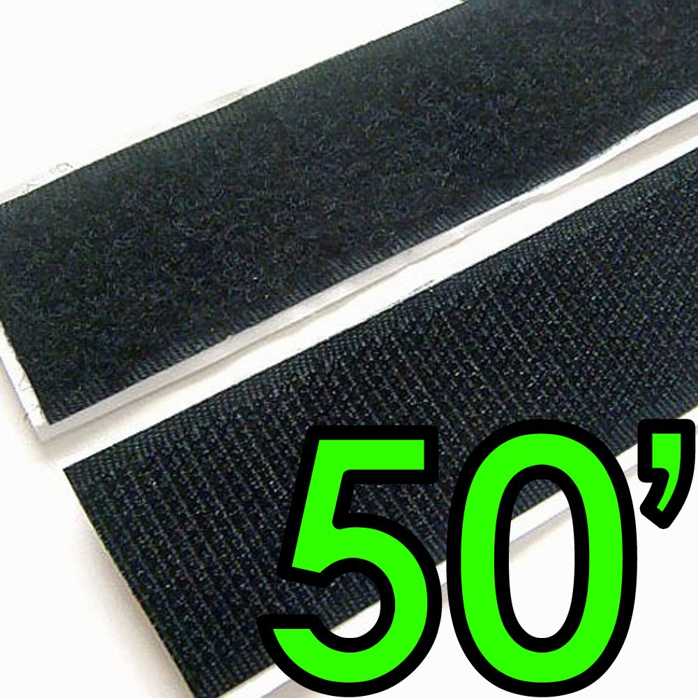 Electriduct 1'' Self Adhesive Hook & Loop Sticky Back Tape Fabric Fastener - 50 Feet by Electriduct